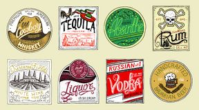 葡萄酒美国人徽章 苦艾龙舌兰酒伏特加酒利口酒兰姆酒酒强的威士忌酒啤酒 与书法的酒精标签 向量例证