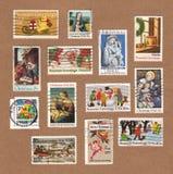 葡萄酒美国圣诞节邮票的汇集 免版税库存照片