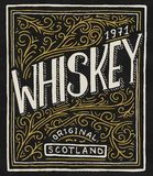 葡萄酒美国威士忌酒徽章 与书法元素的酒精标签 t的手拉的被刻记的剪影字法 皇族释放例证