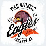 葡萄酒美国愤怒的老鹰骑自行车的人俱乐部发球区域印刷品传染媒介设计 图库摄影