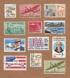 葡萄酒美国航寄邮票的汇集 库存图片