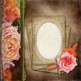 葡萄酒美好的玫瑰册页盖子 库存照片