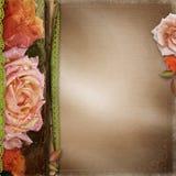 葡萄酒美好的玫瑰册页盖子 图库摄影