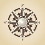 葡萄酒老古色古香的船舶罗盘 传染媒介标志标签emb 免版税库存图片