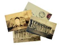 葡萄酒老照片的和邮票从波纳佩1914年 免版税图库摄影