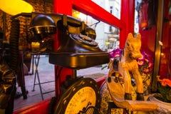 葡萄酒老黑电话,古色古香的马形象 免版税图库摄影