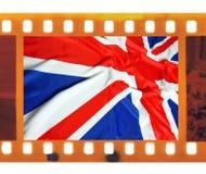 葡萄酒老35mm构筑与英国,英国旗子,联合J的照片影片 免版税图库摄影