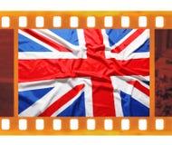 葡萄酒老35mm构筑与英国,英国旗子,联合J的照片影片 免版税库存图片
