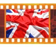 葡萄酒老35mm构筑与英国,英国旗子,联合J的照片影片 库存照片