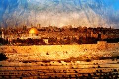 葡萄酒耶路撒冷全景 免版税库存照片