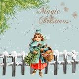 葡萄酒背景魔术圣诞节 库存照片