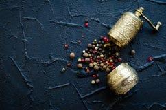 葡萄酒胡椒磨和干胡椒 库存图片