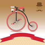 葡萄酒自行车例证 免版税库存图片