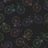 葡萄酒自行车的无缝的多彩多姿的样式 图库摄影