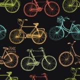 葡萄酒自行车,五颜六色的无缝的背景 免版税库存照片