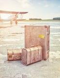 葡萄酒航空旅行概念 免版税库存照片