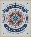 葡萄酒船舶导航员印刷术 库存例证
