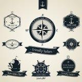 葡萄酒船舶徽章集合 库存照片