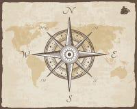 葡萄酒船舶指南针 与被撕毁的边界框架的老地图传染媒介纸纹理 玫瑰色风 库存照片