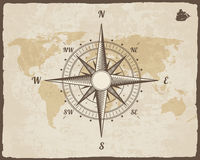 葡萄酒船舶指南针 在传染媒介纸纹理的旧世界地图与被撕毁的边界框架 玫瑰色风 背景船商标 库存照片