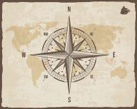 葡萄酒船舶指南针 在传染媒介纸纹理的旧世界地图与被撕毁的边界框架 玫瑰色风 背景船商标 免版税图库摄影