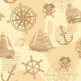 葡萄酒船舶无缝的样式 画海洋老剪影冒险旅行原稿墙纸传染媒介纹理的手 皇族释放例证