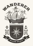 葡萄酒船舶流浪汉印刷术一种颜色 库存例证