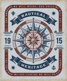 葡萄酒船舶遗产印刷术 向量例证