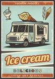 葡萄酒色的新鲜的冰淇凌海报 免版税库存照片