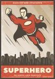 葡萄酒色的超级英雄海报 皇族释放例证
