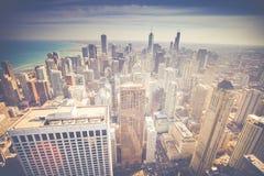 葡萄酒芝加哥地平线鸟瞰图 免版税库存图片