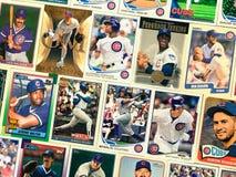 葡萄酒芝加哥Cub棒球收集的纸牌拼贴画 库存照片