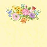 葡萄酒花卉传染媒介卡片 免版税库存图片