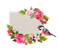 葡萄酒花卉喜帖 花,玫瑰,莓果,鸟 救球日期文本的水彩框架 库存图片