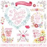 葡萄酒花卉心脏花圈,标题,装饰集合 向量例证