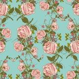 葡萄酒花卉无缝的颜色样式 免版税库存图片