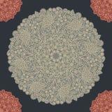 葡萄酒花卉样式圆形 免版税图库摄影