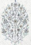 葡萄酒花卉样式墙壁背景 免版税图库摄影