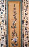 葡萄酒花卉样式墙壁背景 免版税库存图片