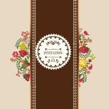 葡萄酒花卉框架花花圈-例证 库存图片