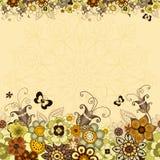 葡萄酒花卉框架 图库摄影