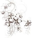 葡萄酒花卉背景,向量例证 免版税库存照片