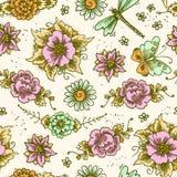 葡萄酒花卉色的无缝的样式 免版税图库摄影