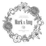 葡萄酒花卉花圈 背景高雅重点邀请浪漫符号温暖的婚礼 免版税库存照片