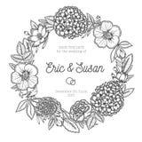 葡萄酒花卉花圈 背景高雅重点邀请浪漫符号温暖的婚礼 库存照片