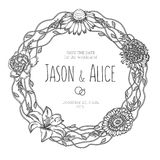 葡萄酒花卉花圈 背景高雅重点邀请浪漫符号温暖的婚礼 库存图片