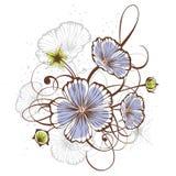 葡萄酒花卉设计,向量例证 库存图片