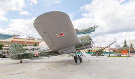 葡萄酒苏维埃战斗机 Pyshma, Ekaterinburg,俄罗斯- 8月16 库存照片