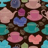 葡萄酒茶背景。 无缝的模式 图库摄影