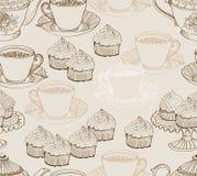 葡萄酒茶背景。 无缝的模式 免版税图库摄影